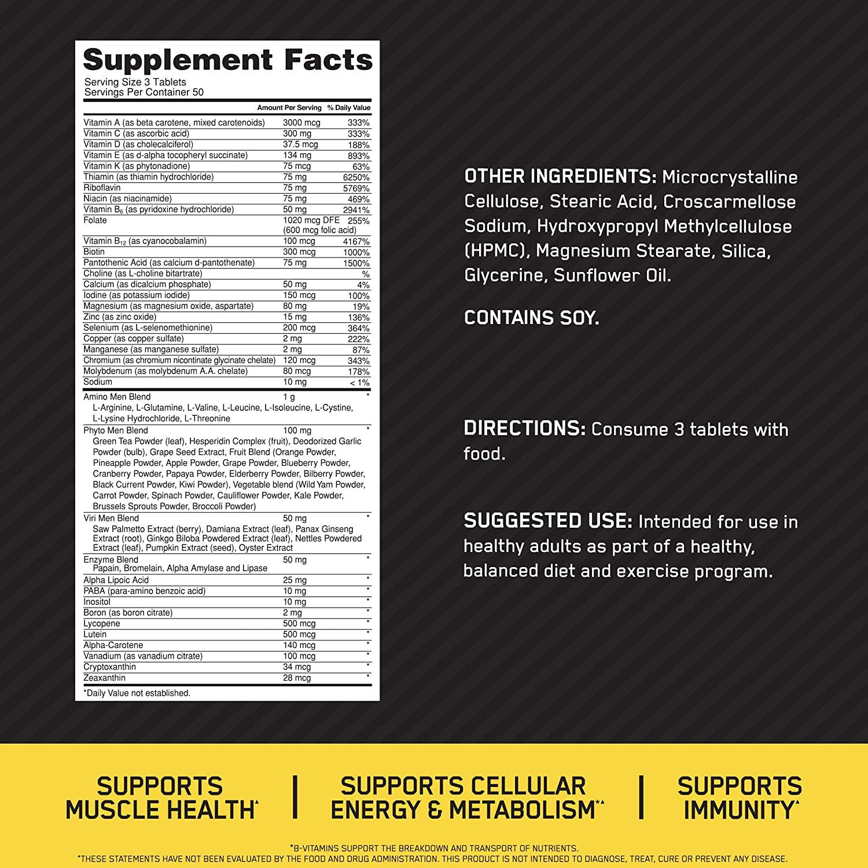 Состав Optimum Nutrition Opti-Men 150 таблеток