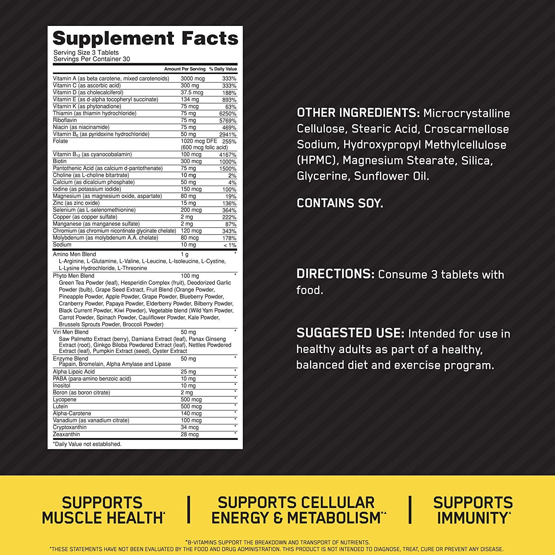 Состав Optimum Nutrition Opti-men 90 tabs