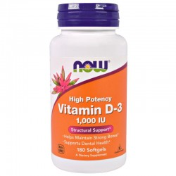 Now Foods Vitamin D-3 1000 IU (180 капсул)