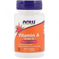 Now Foods, Vitamin A 10.000 (100 капсул)