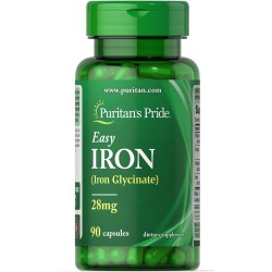Puritan's Pride, Easy Iron (Glycinate) 28 мг (90 гелевых капсул)