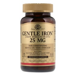 Solgar, Gentle Iron 25 мг (180 вег. капсул)