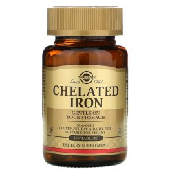 Solgar, Chelated Iron 25 мг (100 таблеток)