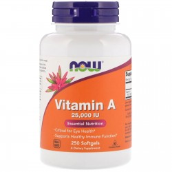 Now Foods, Vitamin A 25,000 IU (250 капсул)