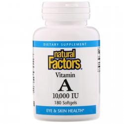 Natural Factors, Витамин А 10,000 МЕ (180 капсул)