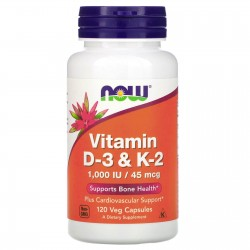 Now Foods D-3 & K-2 1.000 IU / 45 mcg (120 вег. капсул)