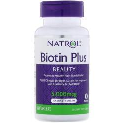 Natrol Biotin Plus 5.000 мкг (60 табл.)
