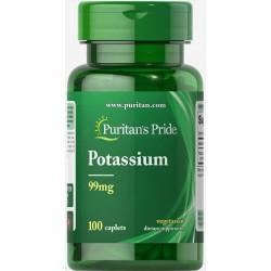 Калий, Potassium, Puritan's Pride, 99 мг, 100 таблеток