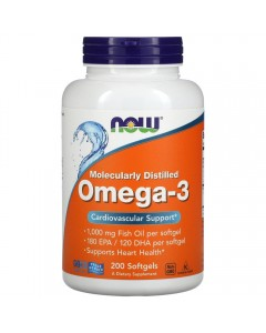 Now Foods, Omega-3 1000 мг (200 капс.)